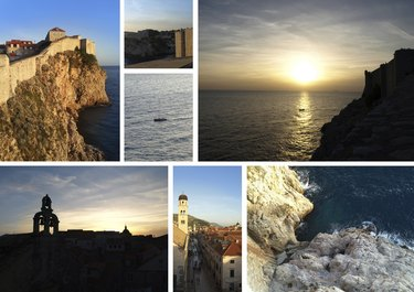 View from Dubrovnik walls, Croatia: collage of photos, card, postcard