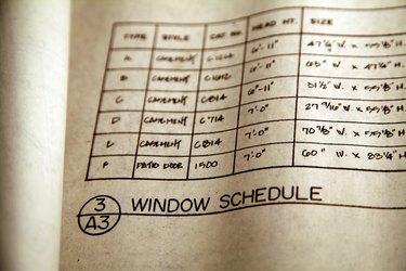 Detail of blueprint with window schedule