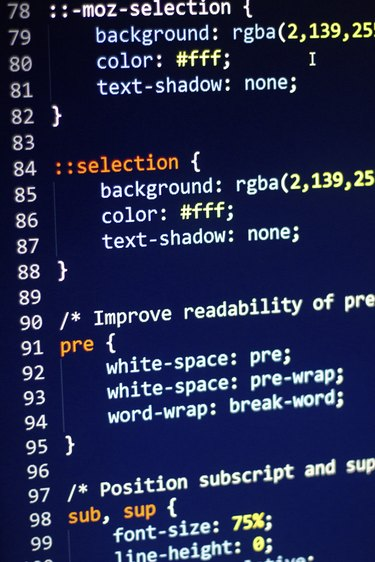 CSS code on the screen