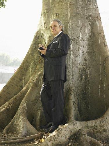Businessman standing underneath tree using PDA