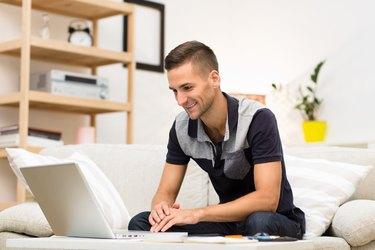 Freelance man working at home