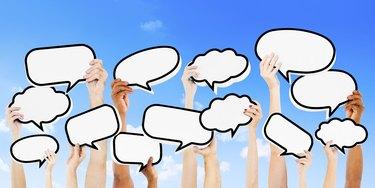 Empty Speech Bubbles Raised Outdoors