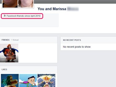 The Friendship page, depicting when you became Facebook friends.