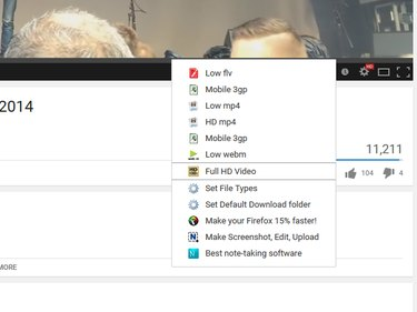The menu for the YouTube Downloader 4K extension in Firefox.