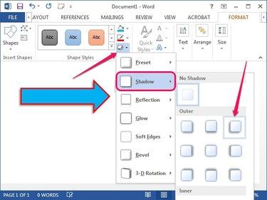 The Shape Effects menu in Word 2013.