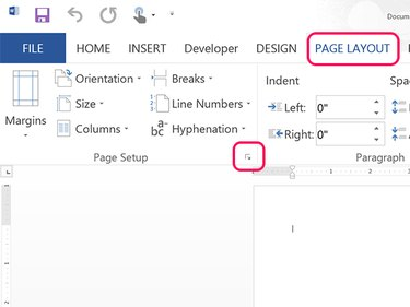 Open the Page Setup window.
