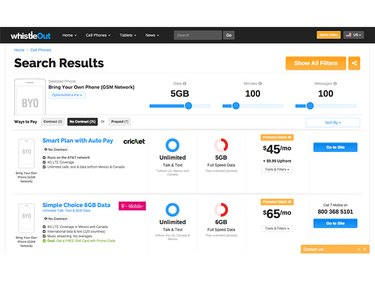 Whistleout comparison of cell phone plans