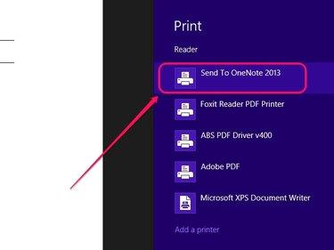 Select the OneNote printer.