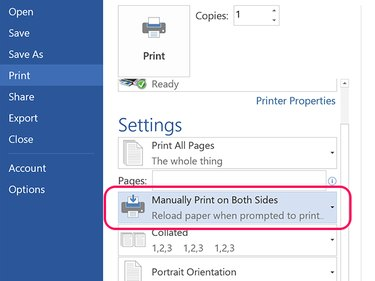 Click Manually Print on Both Sides.