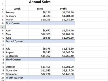 Four subtotal rows have been added to calculate quarterly results.