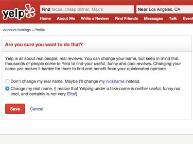 Yelp confirmation page