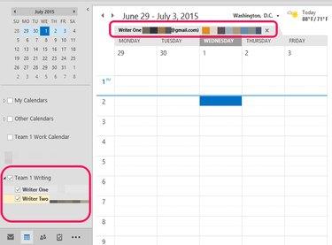 Select the Group Calendar to display.