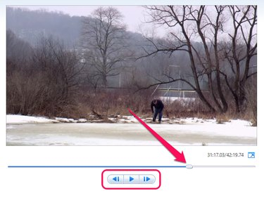 Preview pane in Windows Movie Maker with the slider highlighted.
