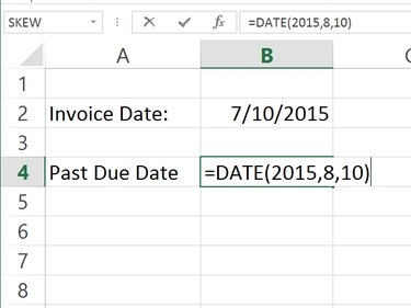 Enter dates using the DATE formula