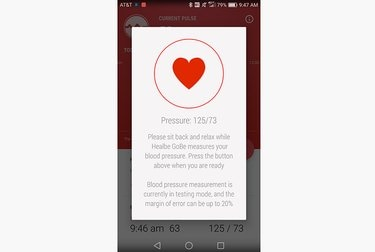 GoBe screenshot showing blood pressure