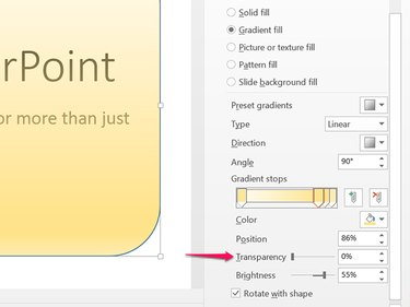 At these settings, the gradient is already transparent without increasing the Transparency level.