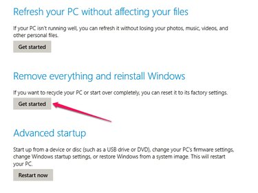 "Closeup of the ""Remove Everything and Reinstall Windows"" option."