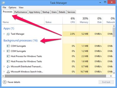The Background processes section of the Task Manager Processes tab.
