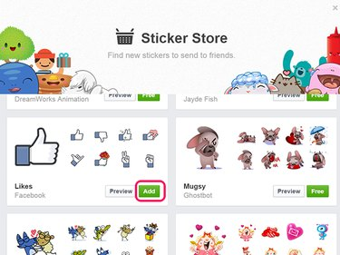 Click the Add button to add the collection to your Message stickers.