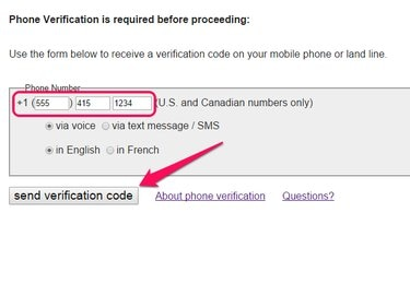 Craigslist phone verification screen, with phone number field and Send Verification Code button highlighted.