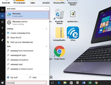 'Recovery control panel' will come up when you type 'recovery' in the Windows 10 search field.