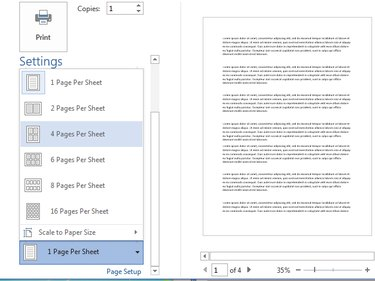 Changing the number of pages per sheet in Word.