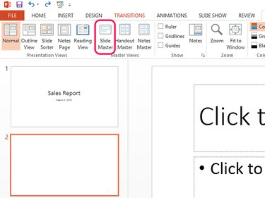 Select Slide Master to open the presentation's master copy.