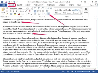 Displaying hidden characters in Word.