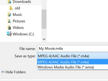 Save the file in M4A or WMA format.