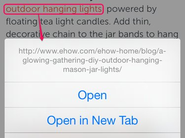 Tap and hold in Safari
