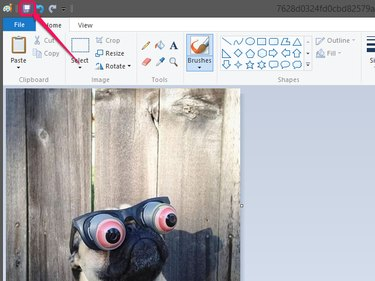 Paint, with the Save button highlighted.