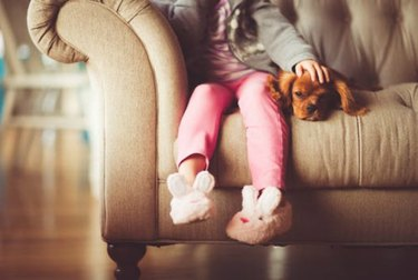 A young child on a couch