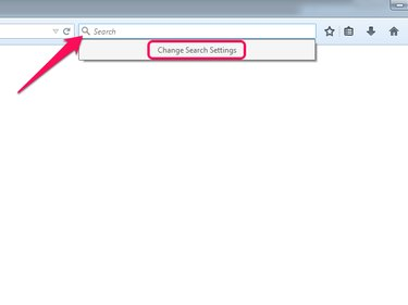 Magnifying glass icon in the Firefox toolbar, with Search Settings menu open and Change Search Settings highlighted.