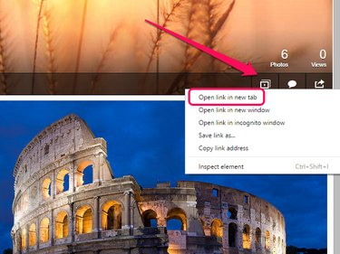 Slideshow icon with contextual menu open and Open Link in New Tab highlighted.