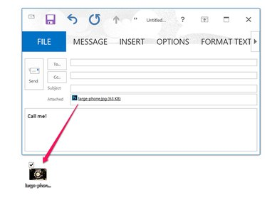 Drag the file onto the desktop to send it with another email client.