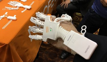 The smart glove on a hand