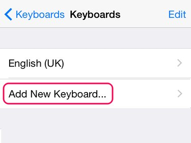 Use Add New Keyboard to open a list of keyboards.