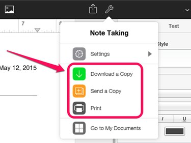 To access the menu to download, send or print a copy of your file, click the wrench icon toward the right side of the top toolbar