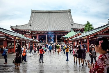Tourists with phones in China