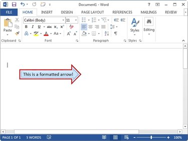 A formatted arrow shape in Word 2013.