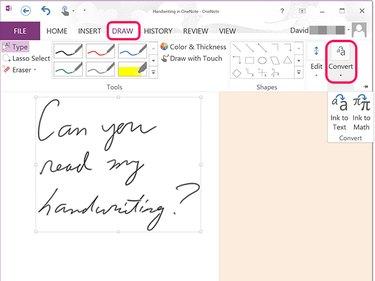 Convert handwritten text in OneNote.