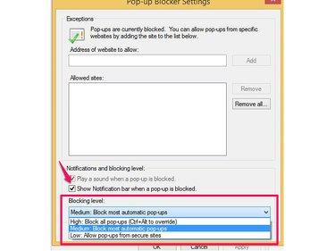 Choose a pop-up blocking level in Internet Explorer.