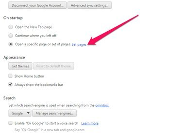 Chrome Options page with Set Pages highlighted.