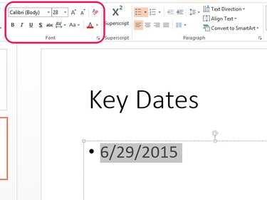 Use font tools to format the date's text style.