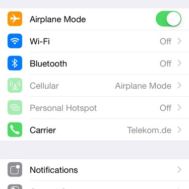 Cellular options are accessed from the main Settings menu.
