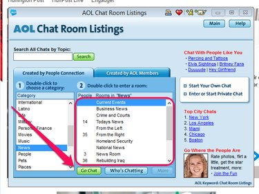 Select a chat room and click Go Chat.