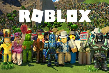 Roblox logo with characters