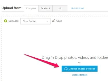 Photobucket Upload page with Choose Photos & Videos button highlighted.