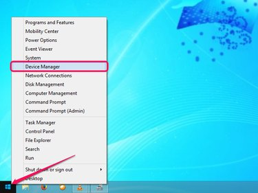 Choosing Device Manager from the Power User menu.
