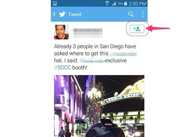 Tap the icon on the dedicated tweet page (Android 5.0)